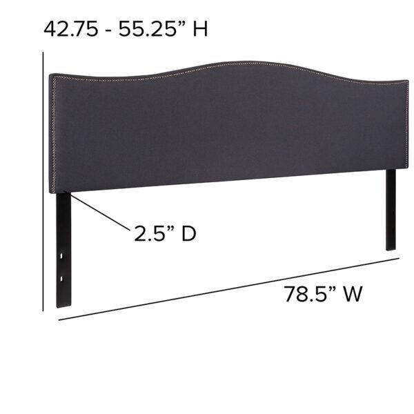 Transitional Style King Headboard-Gray Fabric