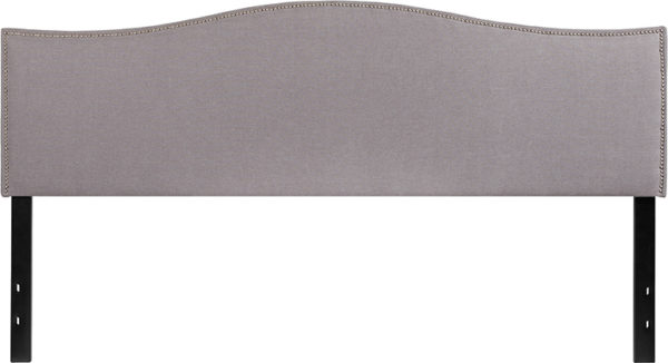 Lowest Price Lexington Upholstered King Size Headboard with Accent Nail Trim in Light Gray Fabric