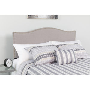 Wholesale Lexington Upholstered King Size Headboard with Accent Nail Trim in Light Gray Fabric