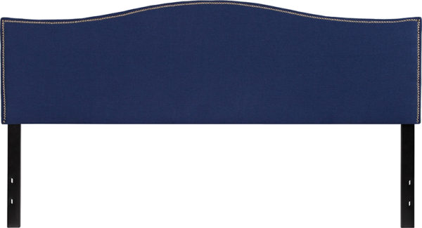 Lowest Price Lexington Upholstered King Size Headboard with Accent Nail Trim in Navy Fabric