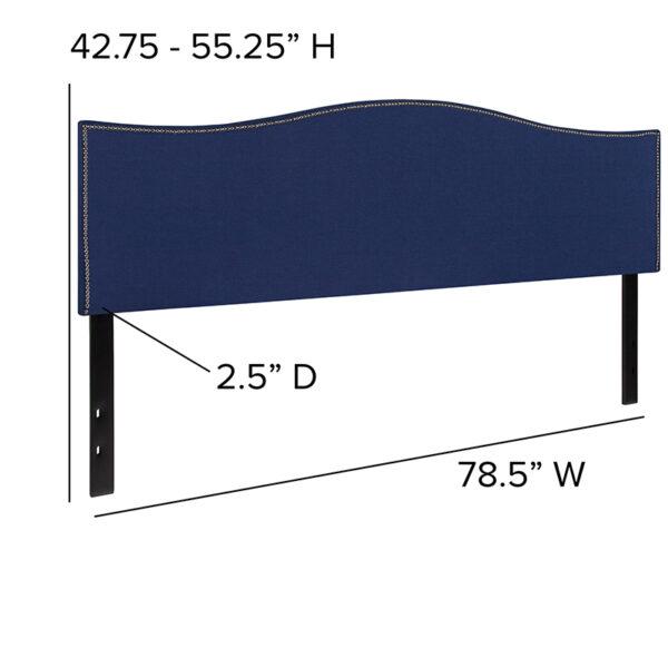 Transitional Style King Headboard-Navy Fabric