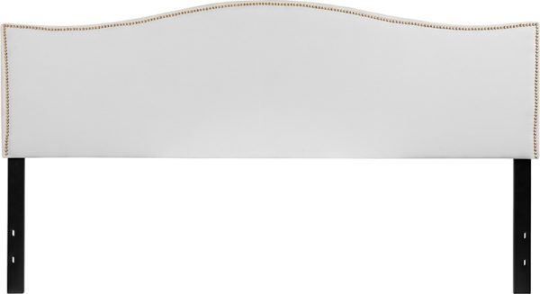 Lowest Price Lexington Upholstered King Size Headboard with Accent Nail Trim in White Fabric