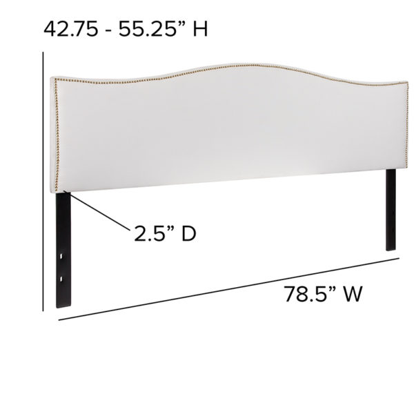 Transitional Style King Headboard-White Fabric