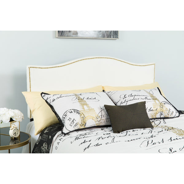 Wholesale Lexington Upholstered King Size Headboard with Accent Nail Trim in White Fabric