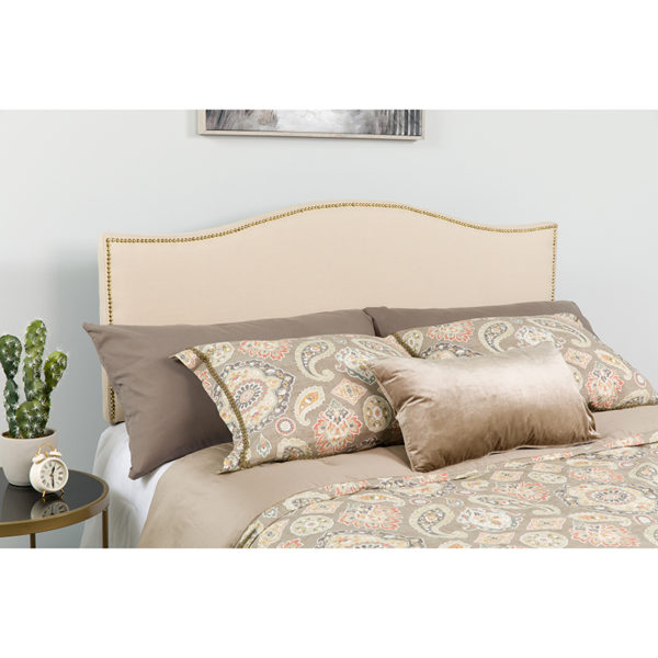 Wholesale Lexington Upholstered Queen Size Headboard with Accent Nail Trim in Beige Fabric