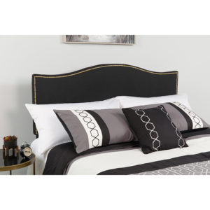 Wholesale Lexington Upholstered Queen Size Headboard with Accent Nail Trim in Black Fabric