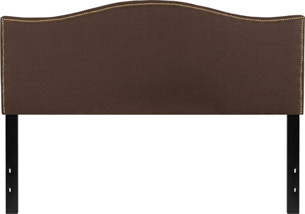Lowest Price Lexington Upholstered Queen Size Headboard with Accent Nail Trim in Dark Brown Fabric