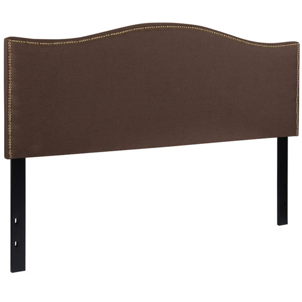 Transitional Style Queen Headboard-Brown Fabric