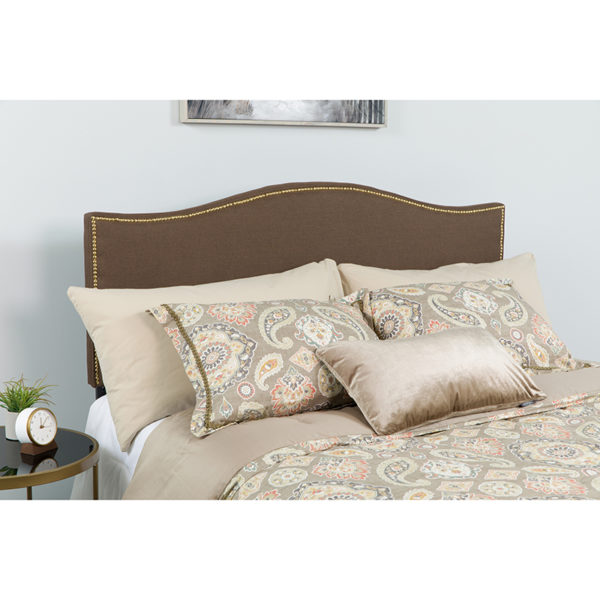 Wholesale Lexington Upholstered Queen Size Headboard with Accent Nail Trim in Dark Brown Fabric