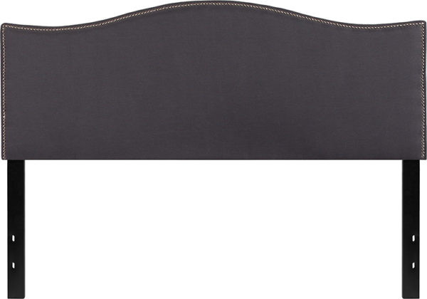 Lowest Price Lexington Upholstered Queen Size Headboard with Accent Nail Trim in Dark Gray Fabric
