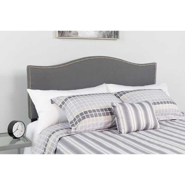Wholesale Lexington Upholstered Queen Size Headboard with Accent Nail Trim in Dark Gray Fabric