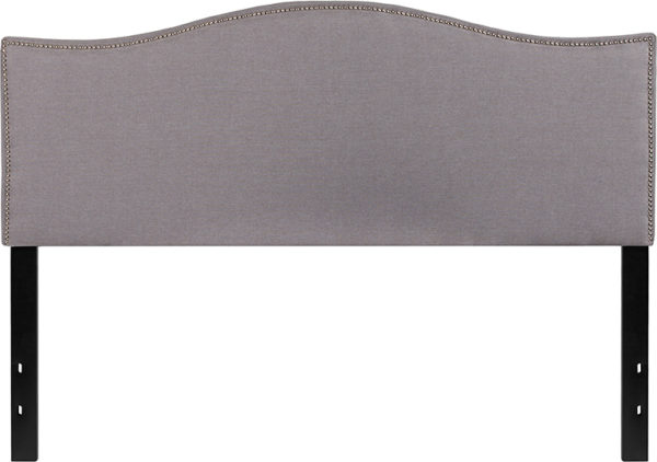 Lowest Price Lexington Upholstered Queen Size Headboard with Accent Nail Trim in Light Gray Fabric