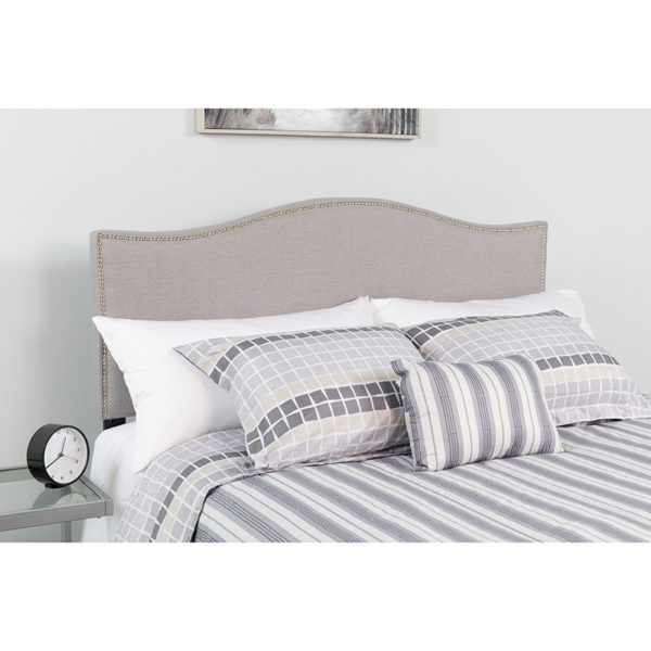 Wholesale Lexington Upholstered Queen Size Headboard with Accent Nail Trim in Light Gray Fabric