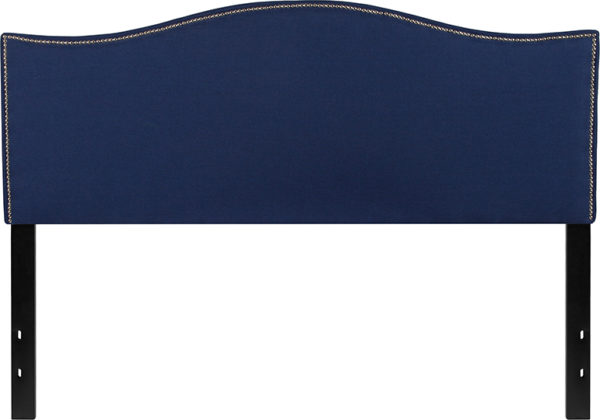 Lowest Price Lexington Upholstered Queen Size Headboard with Accent Nail Trim in Navy Fabric