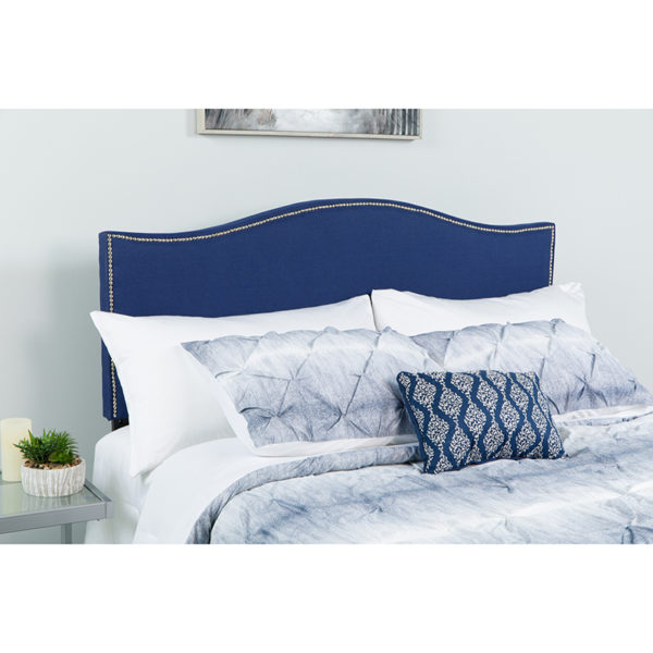 Wholesale Lexington Upholstered Queen Size Headboard with Accent Nail Trim in Navy Fabric