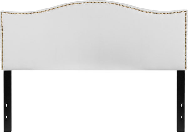 Lowest Price Lexington Upholstered Queen Size Headboard with Accent Nail Trim in White Fabric