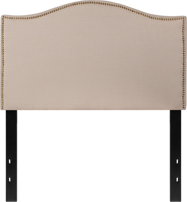 Lowest Price Lexington Upholstered Twin Size Headboard with Accent Nail Trim in Beige Fabric