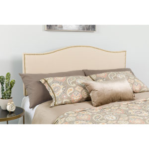 Wholesale Lexington Upholstered Twin Size Headboard with Accent Nail Trim in Beige Fabric