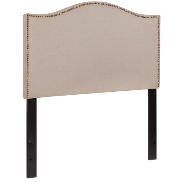 Transitional Style Twin Headboard-Beige Fabric