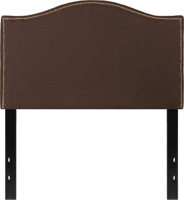 Lowest Price Lexington Upholstered Twin Size Headboard with Accent Nail Trim in Dark Brown Fabric