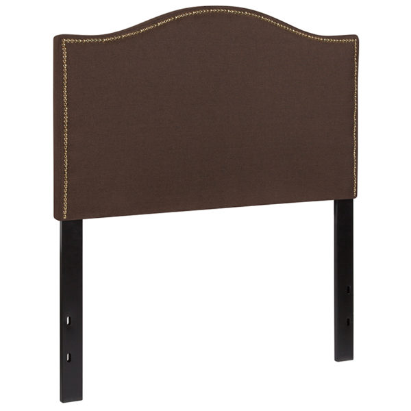 Transitional Style Twin Headboard-Brown Fabric