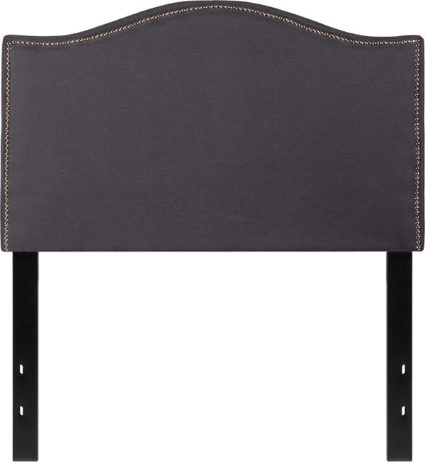 Lowest Price Lexington Upholstered Twin Size Headboard with Accent Nail Trim in Dark Gray Fabric