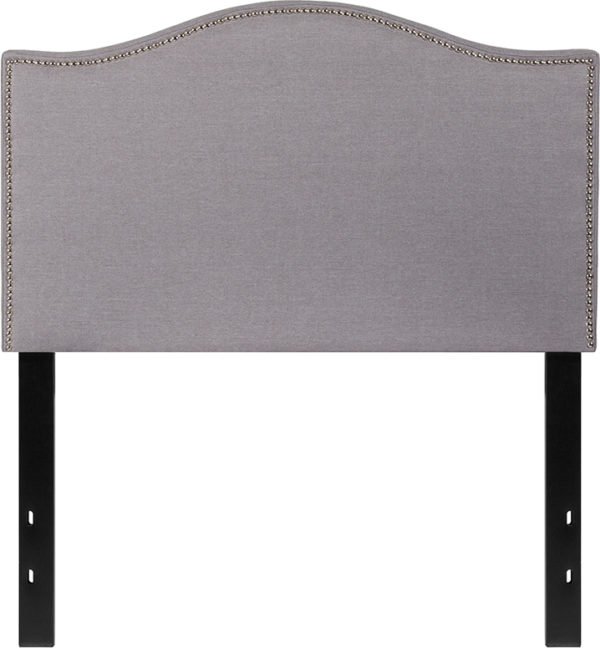 Lowest Price Lexington Upholstered Twin Size Headboard with Accent Nail Trim in Light Gray Fabric
