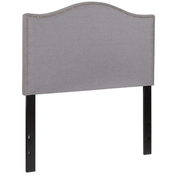 Transitional Style Twin Headboard-Gray Fabric