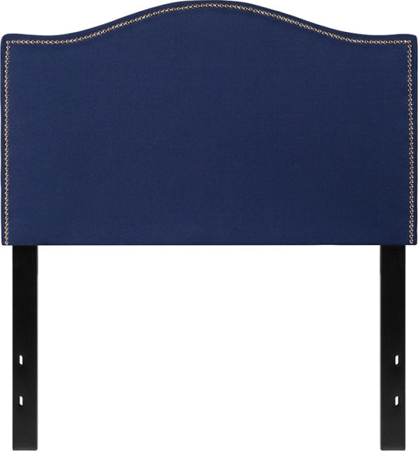 Lowest Price Lexington Upholstered Twin Size Headboard with Accent Nail Trim in Navy Fabric