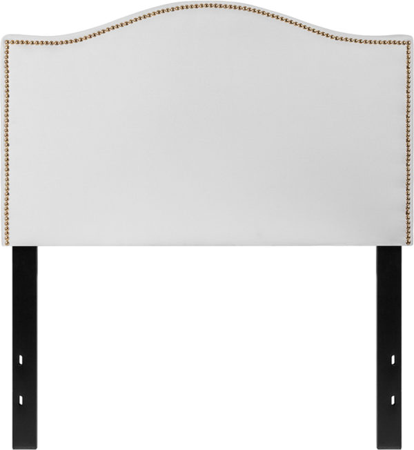 Lowest Price Lexington Upholstered Twin Size Headboard with Accent Nail Trim in White Fabric