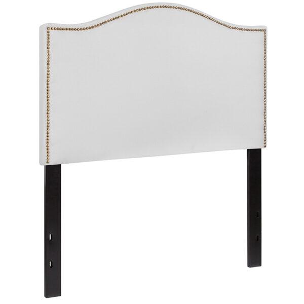 Transitional Style Twin Headboard-White Fabric