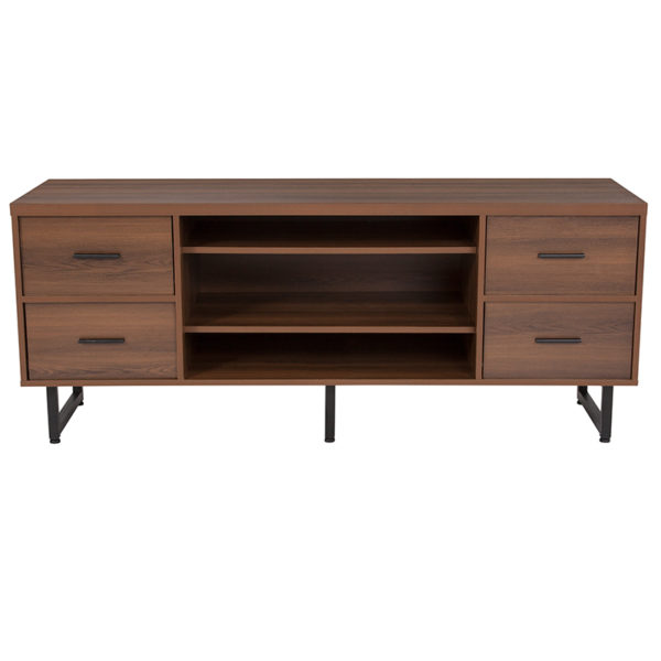 Lowest Price Lincoln Collection TV Stand in Rustic Wood Grain Finish