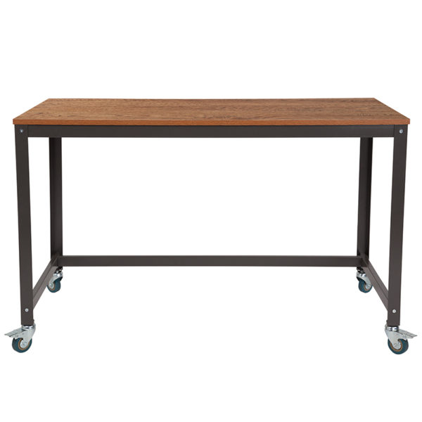 Lowest Price Livingston Collection Computer Table and Desk in Brown Oak Wood Grain Finish with Metal Wheels