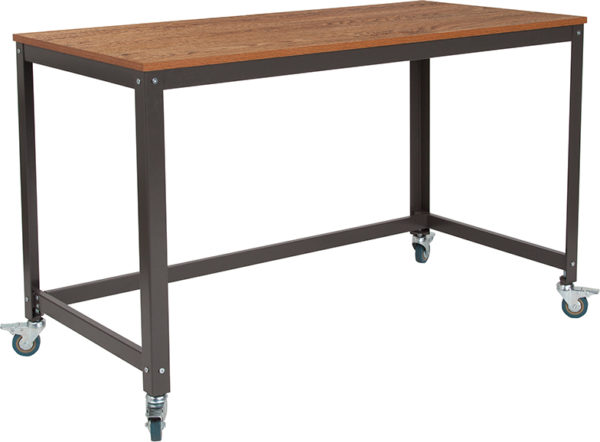 Wholesale Livingston Collection Computer Table and Desk in Brown Oak Wood Grain Finish with Metal Wheels