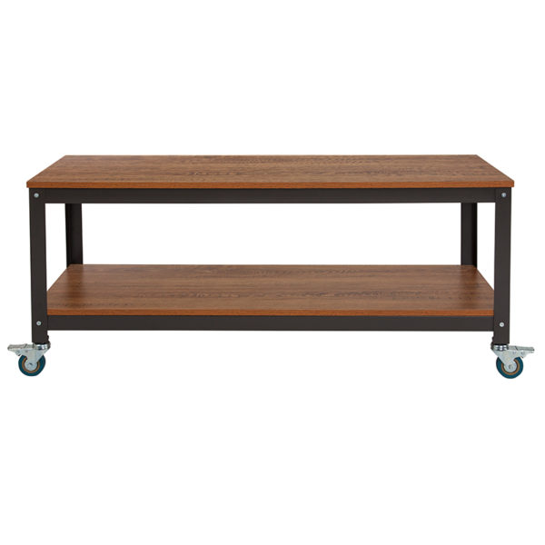 Lowest Price Livingston Collection TV Stand in Brown Oak Wood Grain Finish with Metal Wheels