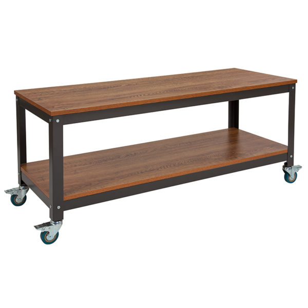 Wholesale Livingston Collection TV Stand in Brown Oak Wood Grain Finish with Metal Wheels