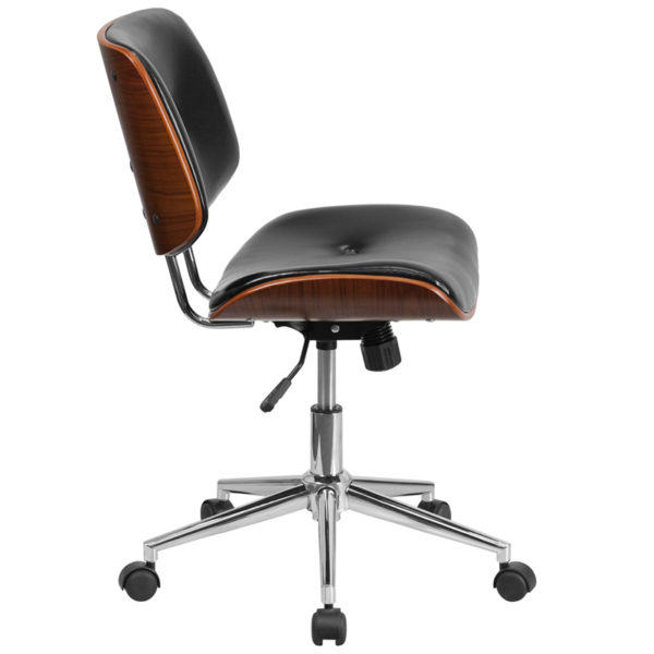 Lowest Price Low Back Black Leather Ergonomic Wood Swivel Task Office Chair