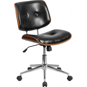 Wholesale Low Back Black Leather Ergonomic Wood Swivel Task Office Chair