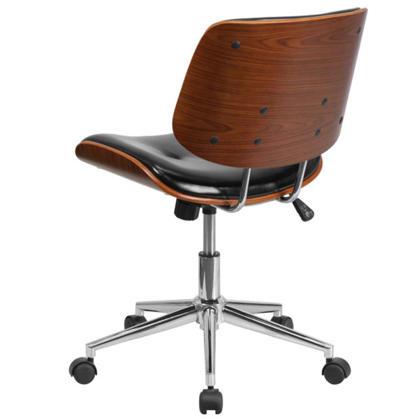 Contemporary Wood Office Chair Black Low Back Task Chair
