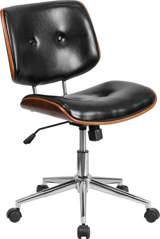 Wholesale Low Back Black Leather Ergonomic Wood Swivel Task Office Chair
