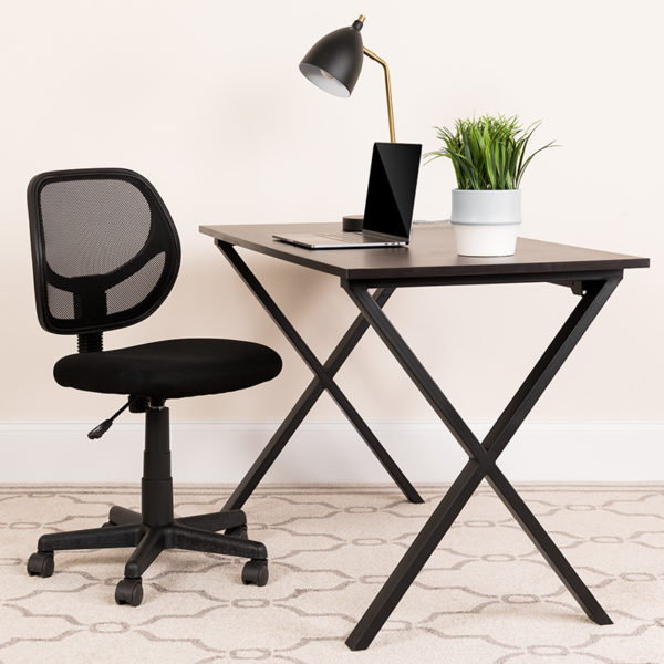 Lowest Price Low Back Black Mesh Swivel Task Office Chair with Curved Square Back