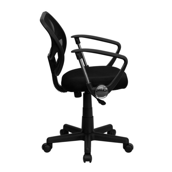 Lowest Price Low Back Black Mesh Swivel Task Office Chair with Curved Square Back and Arms