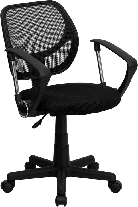 Wholesale Low Back Black Mesh Swivel Task Office Chair with Curved Square Back and Arms
