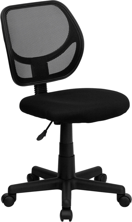 Wholesale Low Back Black Mesh Swivel Task Office Chair with Curved Square Back