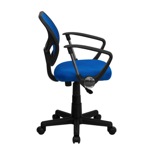 Lowest Price Low Back Blue Mesh Swivel Task Office Chair with Curved Square Back and Arms