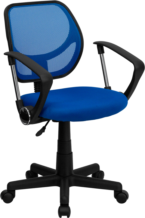 Wholesale Low Back Blue Mesh Swivel Task Office Chair with Curved Square Back and Arms