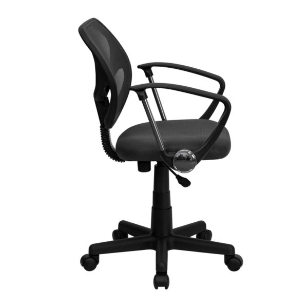 Lowest Price Low Back Gray Mesh Swivel Task Office Chair with Arms