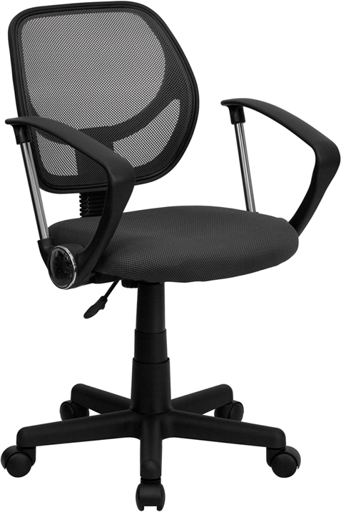 Wholesale Low Back Gray Mesh Swivel Task Office Chair with Arms