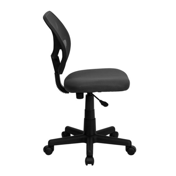 Lowest Price Low Back Gray Mesh Swivel Task Office Chair with Curved Square Back