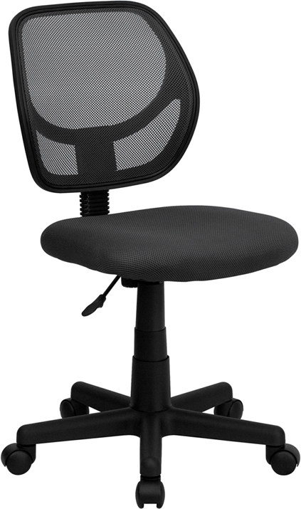 Wholesale Low Back Gray Mesh Swivel Task Office Chair with Curved Square Back